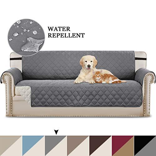 Reversible Quilted Furniture Protector mit verstellbaren Trägern, Mikrofaser, weich und wasserabweisend (übergroßes Sofa: Grau/Beige) -