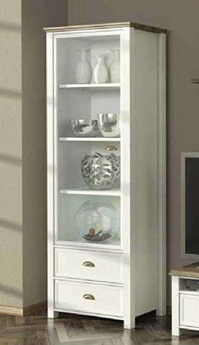 Anbauwand in weiß mit Applikation in San Remo-Eiche-NB, bestehend aus: Vitrine, TV-Bank, Kommode und Wandboard, Gesamtmaße: B/H/T ca. 280/193/36-43 cm - 2