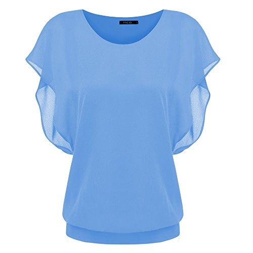 Zeagoo Damen Sommer Casual Loose Fit Kurzarm Fledermaus Batwing T-Shirt Shirt Chiffon Top Bluse (Tunika Top Batwing)