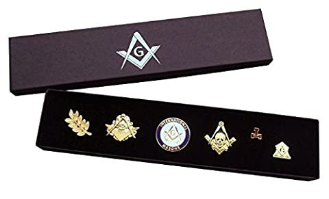 Masonic Pin Badge Collection (Set C) - Square & Compass + Embossed Gift Box - Freemason