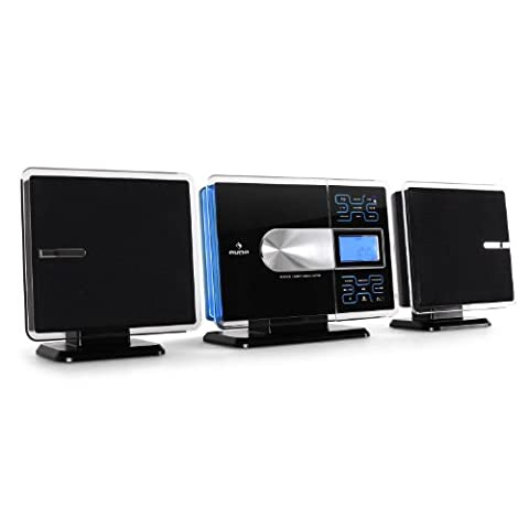 auna VCP-191 • Kompaktanlage • Stereoanlage • Microanlage • CD-Player • multimediafähig • MP3-fähiger USB-Port • LCD-Display • UKW-Radiotuner • 50 Senderspeicher • Line-Out • koaxialer Audio-Out • SCART-Ausgang • Wandmontage • Fernbedienung • schwarz