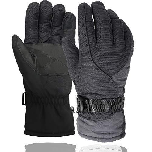 Divine Shield Winterhandschuhe warme Handschuhe mit Handgelenkleine wasserdicht und Winddicht Schneehandschuhe für Skifahren, Radfahren, Outdoor-Sport, Männer Geschenke, Herren, grau, Free