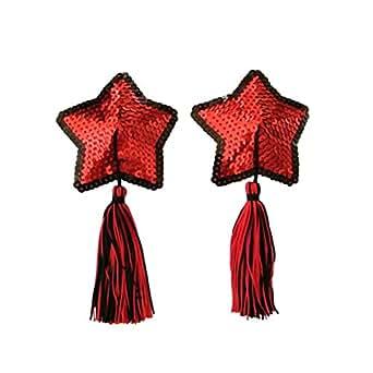 Czj-Innovation Riutilizzabile Nipple Cover Pasties Rosso Figura a forma di stella