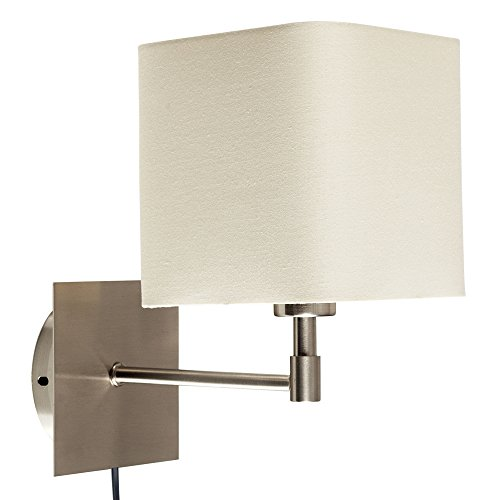 Wall light with switch amazon modern cream polycotton square design brushed chrome bedside wall light with practical plug cable and switch audiocablefo