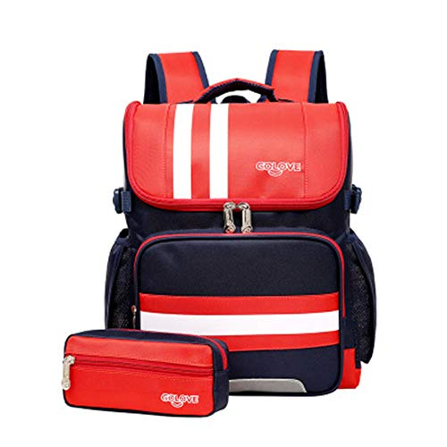 Student Trolley Bag, 2-4-6 Klasse Grundschüler Trolley Bag weiblich 36 Zoll Trolley Bag Rucksack Unisex-Red -