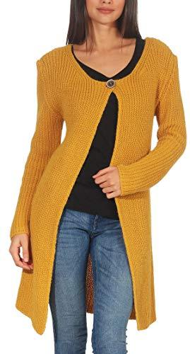 Malito Damen Lange Strickjacke | Cardigan im Grobstrick Look | Weste mit Wolle | Mohair - Jacke - Mantel 7020 (gelb)