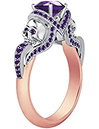 Silvernshine 1.52Ct Amethyst CZ Diamond 14K Rose & White Gold PL Engagement Two Skull Design Ring