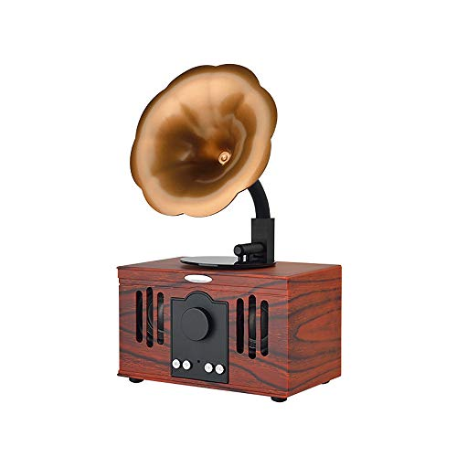 dual stereoanlage mit plattenspieler HJJH Retro-Plattenspieler-Bluetooth-Lautsprecher, drahtlose Bluetooth-Lautsprecher-Freisprechanrufkarte USB-U-Retro-Lautsprecherkleine Antike, Doppeltrompete