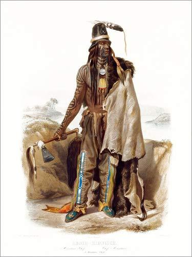 Kostüm Staaten Vereinigten Traditionellen - Posterlounge Leinwandbild 120 x 160 cm: Abdih Hiddisch von Karl Bodmer - fertiges Wandbild, Bild auf Keilrahmen, Fertigbild auf echter Leinwand, Leinwanddruck