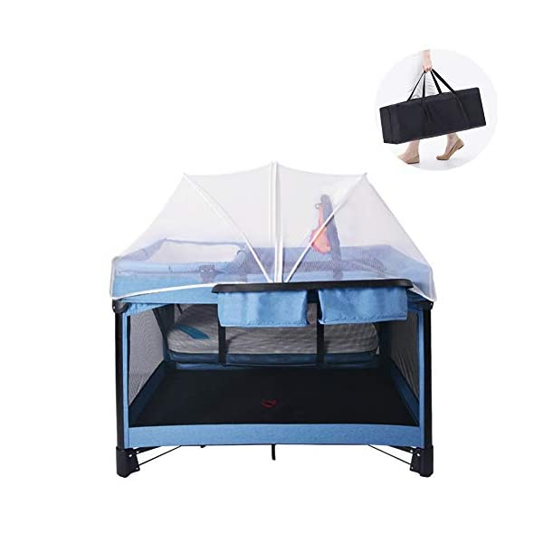 Mr.LQ Travel Cot Baby Bedside Crib Folding Sleep Play Centre with Bassinet Changing Top Mattress for 0-36 months  ♥All suits: with cradle, replacement top, equipment package, folding mattress and transport bag, toy rack, storage bag, you will be fully equipped with all travel and baby ♥ Durable high-quality materials: Aluminum frame provides a solid and stable structure for your child's safe sleep. ♥ Easy to fold: With just a few movements, this crib can be assembled and folded compactly, making your next trip very convenient. 1