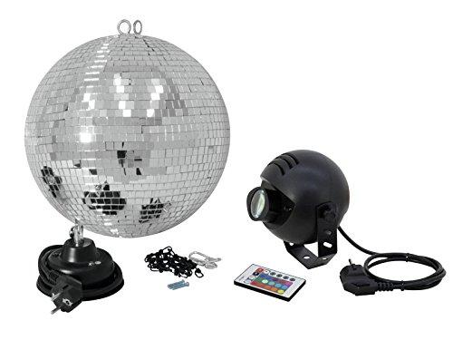 Eurolite Spiegelkugelset 30cm mit LED-RGB-Spot FB | Set bestehend aus Motor, Spiegelkugel, Kette, farbigem Spot & Fernbedienung | Alles für den perfekten Discostart