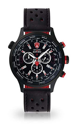 DETOMASO AURINO Montre pour Hommes Chronographe Chronographe Analogique Quartz Noir Bracelet Cuir Noir Cadran Noir DT1061-A-841