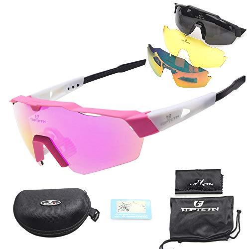 Toptotn Gafas de Sol Deportivas, Gafas De Sol Polarizadas para Ciclismo con 3 Lentes Intercambiables UV400 Bicicleta Montaña (Pink)