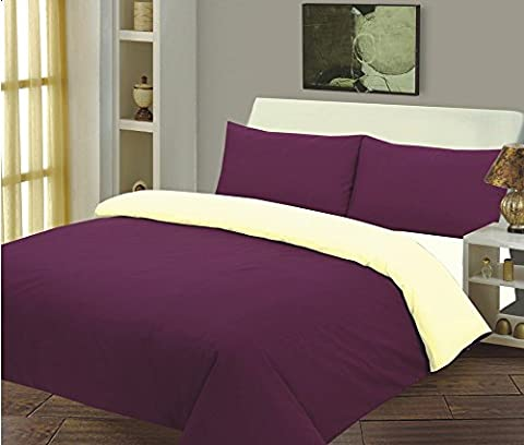 Front Reverse - Stylish 3 Pieces Duvet Cover Set, Quilt Cover Set, Available in Dyed Solid Colours, Size: Double, Color: