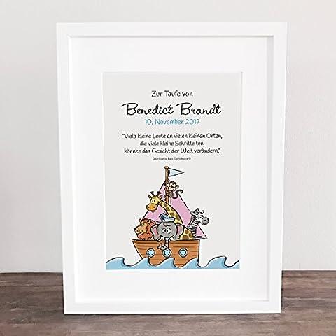 """Geschenk zur Taufe PERSONALISIERT, Poster, Bild, Geschenkidee Geburt, Geschenk, Baby, Kinderposter """"Zur Taufe"""" ungerahmt"""