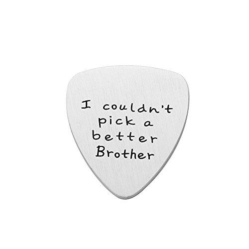 Púa de guitarra para hermano, regalos de cumpleaños, amistad, no podría picar un mejor hermano, acero inoxidable mate
