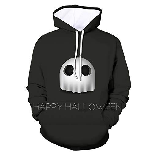 Xmiral Herren Pullover 3D Drucken Kapuzenpullover Halloween Thema Hoodie Sweatshirts Große Größe Unheimlich Gedruckte Langarm Tasche Kapuzenpulli(Schwarz 2,S) - Tweed Duffle