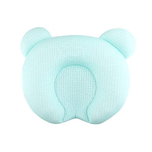 Babykissen Memory Schaum Kinderkissen Atmungsaktiv Babykopfkissen Anti-Allergen Baby Pillow Gegen Kopfverformung Kissen Unisex Kissen Gegen Plattkopf(Grün) -