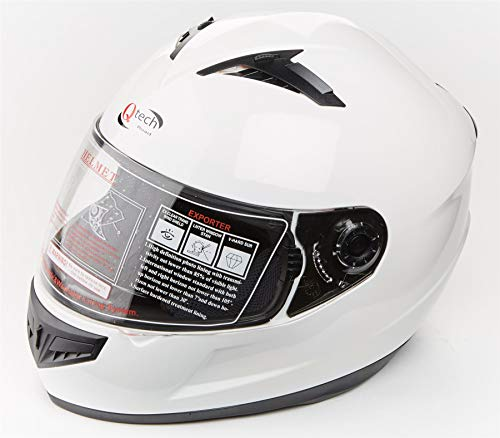 Qtech Vollgesichtsmotorrad-Motorradhelm auf der Straßenblende ECE22-05 genehmigt - Glänzend Weiß - M (57-58cm)