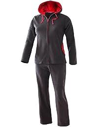 Damen Hausanzug Freizeit Anzug Fleece Anzug mit Kapuze angenehm weich und warm anthrazit Gr. S M L XL