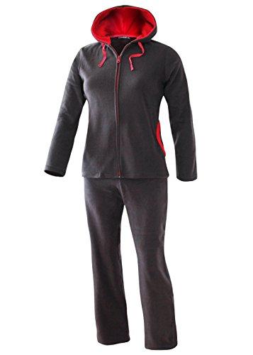 Damen Freizeit Anzug Hausanzug Fleece Anzug mit Kapuze angenehm weich und warm anthrazit Gr M/40-42