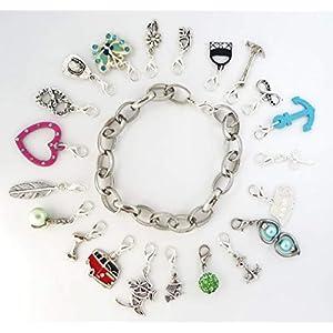 10tlg Set Charm-Anhänger Silber-Schmuck für Mädchen & Frauen mit Bettel-Armband SaWi