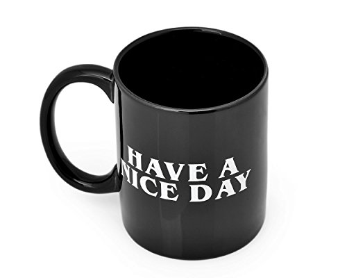 fGf Have a nice day Kaffee Becher Mittelfinger Kaffee Tasse Keramik Tasse Milch Saft Tee Tasse, keramik, schwarz, 350 ml