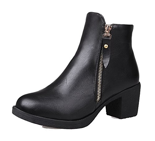 Ageemi shoes donna scarpe a punta chiusa invernali bassi comode zip stivali,eux63 nero 37