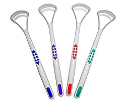 Tongue Scraper Cleaner X 2 ~ Choice Of 4 Colours ~ Oral Dental Care (Green, Red)