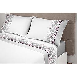 Manterol ALGODONEA- Juego de sábanas 100% algodón, (gris, 150)