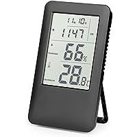 Termómetro Higrometro Digital, Hotchy Medidor de humedad Digital Termo-higrómetro Monitorización del aire interior con pantalla LCD Reloj despertador para el hogar, la oficina y la escuela (Blanco)