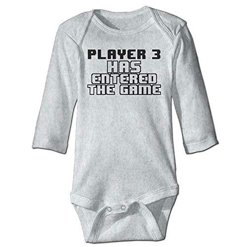 MSGDF Unisex Newborn Bodysuits Player 3 Has Entered The Game Boys Babysuit Long Sleeve Jumpsuit Sunsuit Outfit Ash Lace Velvet Romper