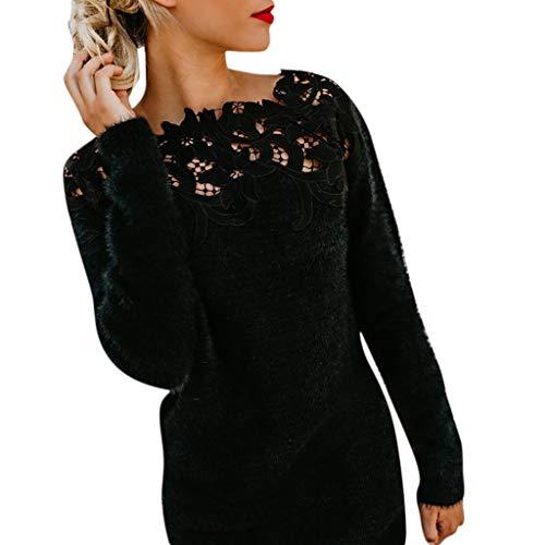 MCYs Damen Lässige Langarm Spitze Patchwork Schulterfreies Pullover Top Bluse Oversize Sweatshirt Obert