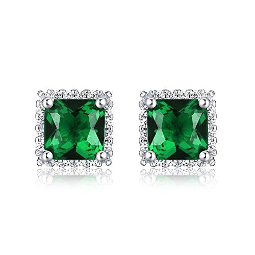 Diamond Treats Pendientes de PLATA DE LEY 925 con Esmeraldas Cuadradas