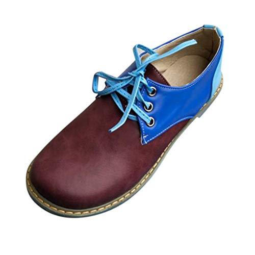 MakefortuneDamen Leder Oxfords Bequeme Büro Low Heel Schnürschuhe Round Toe Damen Vintage Schuh Derby