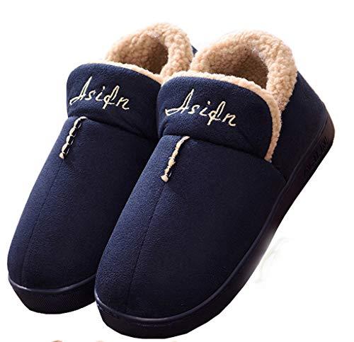 Mujer Invierno Zapatillas de Estar casa Cerradas Calienta Pantuflas Termicas Zapatos Slippers (42.5/43 EU, Azul)