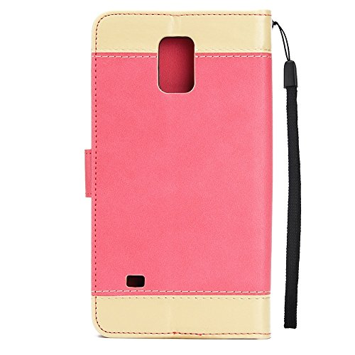 Dual Color Matching Premium PU Leder Flip Stand Case Cover mit Karte Cash Slots und Lanyard für Samsung Galaxy HINWEIS 4 ( Color : Brown ) Red