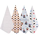 Baby Grow 4PCS/Pack 100% Cotton Newborn Soft Receiving Baby Blanket Swaddle Baby Bedsheet Baby Blankets 76 X 76 Cm (Blue Dotted)