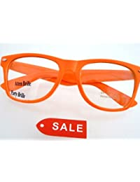Nerdbrille in knall Orange mit Nerd Brillenbeutel