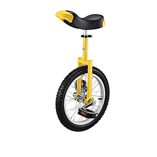 SHARESUN 18-Zoll-Rad Aluminiumfelge Stahlgabel Rahmen Einrad w/Komfortable Sattel Sitz Rubber Mountain Reifen für Balance Übungstraining Road Street Bike Radfahren,Yellow -