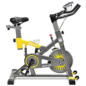 iDeer Life Exercise Bike, Indoor Cycling Bike, Smooth & Quiet Stationary Spin Bike, Fully Adjustable w/Heart Rate Sensor (Yellow/Grey 09061)