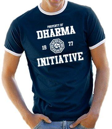 Lost Dharma Universität Ringer / Kontrast T-Shirt Navy/White, L