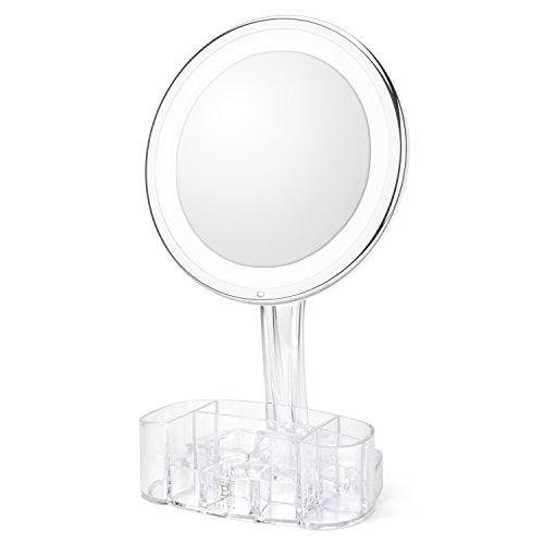 Kosmetikspiegel mit Beleuchtung – Hollywood-Spiegel mit 10facher Vergrößerung – Spiegel mit Organizer aus Acryl für den Kleidertisch – Vergrößerungsspiegel, Make-up Spiegel mit Leuchten von ELURA
