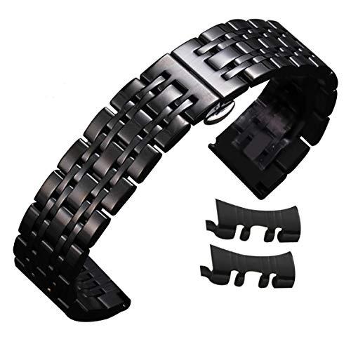 20mm Uhrenarmband Edelstahlarmband schwarz 12mm-24mm Geschäft Austausch mit Geraden gekrümmtem Ende schwarz
