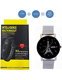 VASA(R-TM) M2 Bluetooth Intelligence Health Smart Band Wrist Watch Monitor Smart Bracelet+2018 New Design VASA 3-6-9-12 Series dial Trendy Black Color Designed Watch for Men