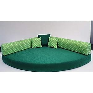 Kuschelecke Viertelkreis Fußball grün/weiß 140 x 140 x 15 cm, Made in Germany;