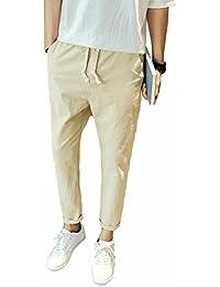 Cheyuan Los pies Pequeños Vendajes Pantalones Casuales Pantalones de Harén Sueltos de Color Sólido Neutral Pantalones de Cintura… WNItwp