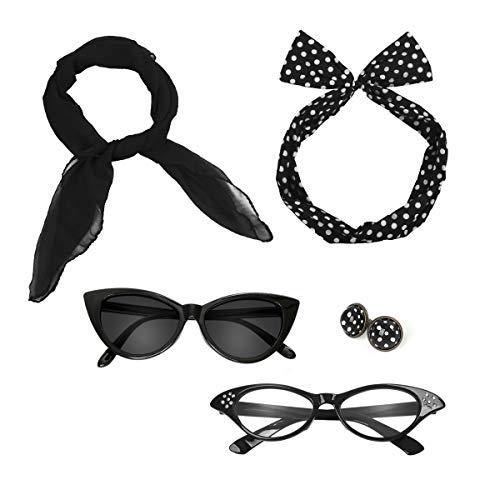 lka Dot Kostüm Zubehör Set Halstuch Katze Brille Bandana Haarband und Ohrringe Retro-Look für Mädchen Damen Frauen (schwarz) ()