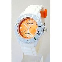 Nerd® Leonira Uhr in Weiß/Orange BU140