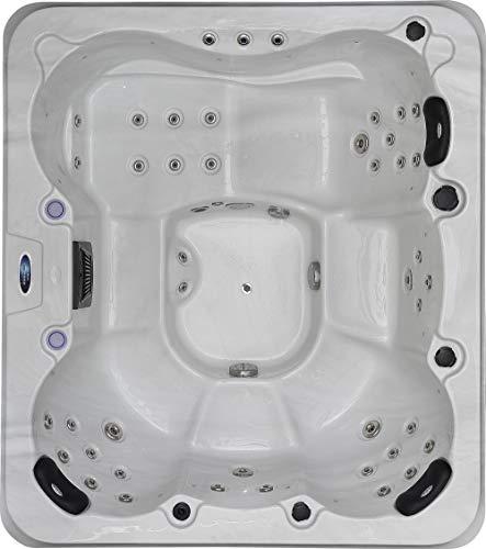 perfect-spa Whirlpool Phoenix Indoor/Outdoor für 6 Personen Whirlpools Aussenwhirlpool Hot Tub Spa Außenwhirlpool Balboa Steuerung (Wanne SkyWhite, Außenverkleidung Schwarz) -